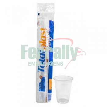 Copo Totalplast 300ml Transparente/ Branco C/100