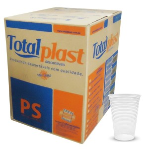 Copo Totalplast 180ml Transparente/ Branco